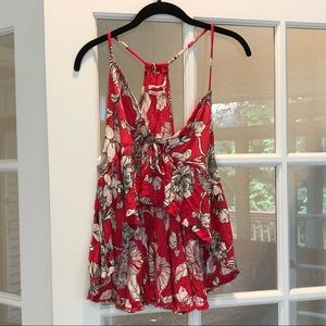 Urban Outfitters red floral crop tank top